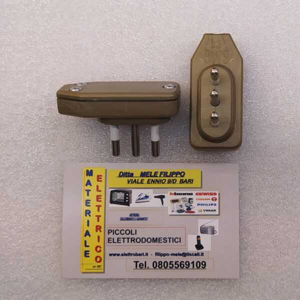 spina 10 ampere salva spazio bronzo
