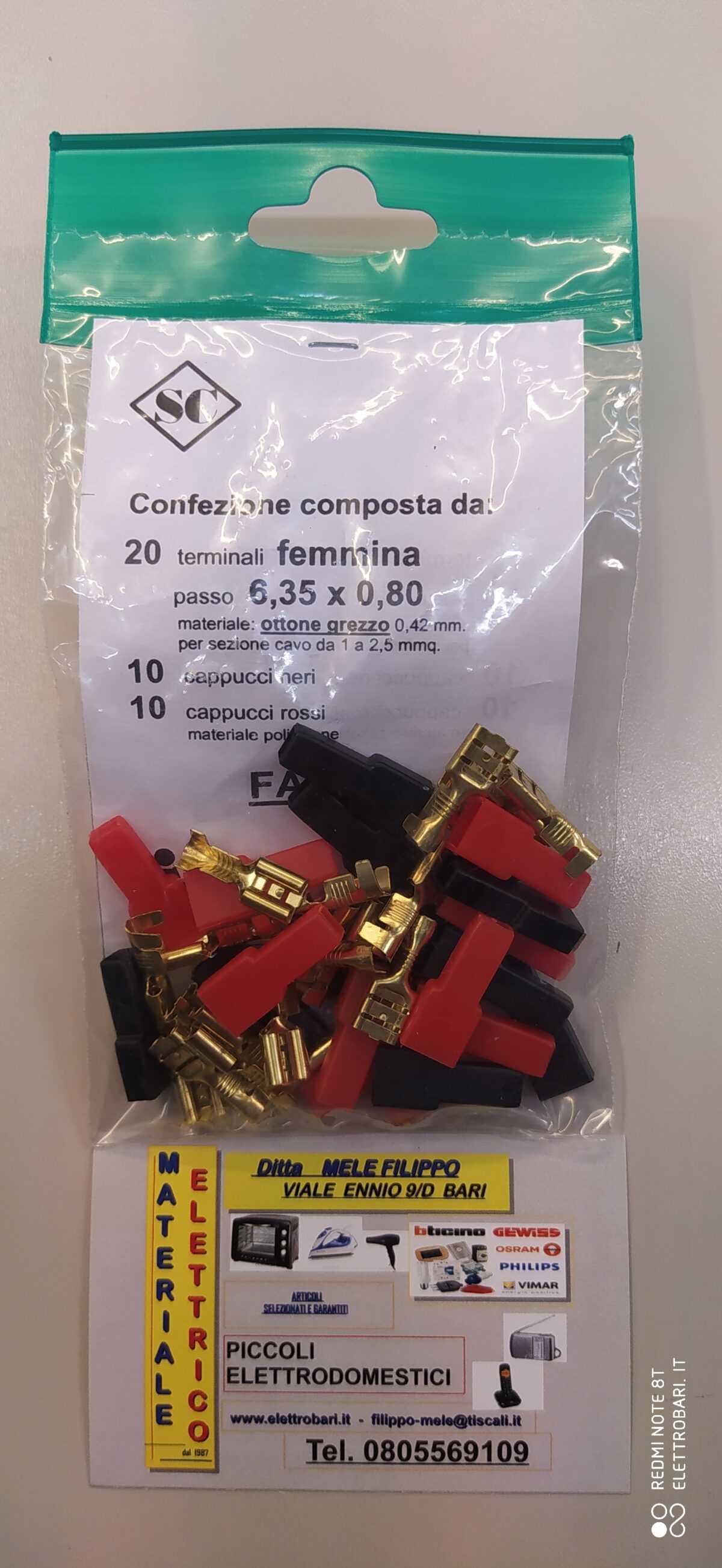 terminali per spinotto 6.35mm femmina